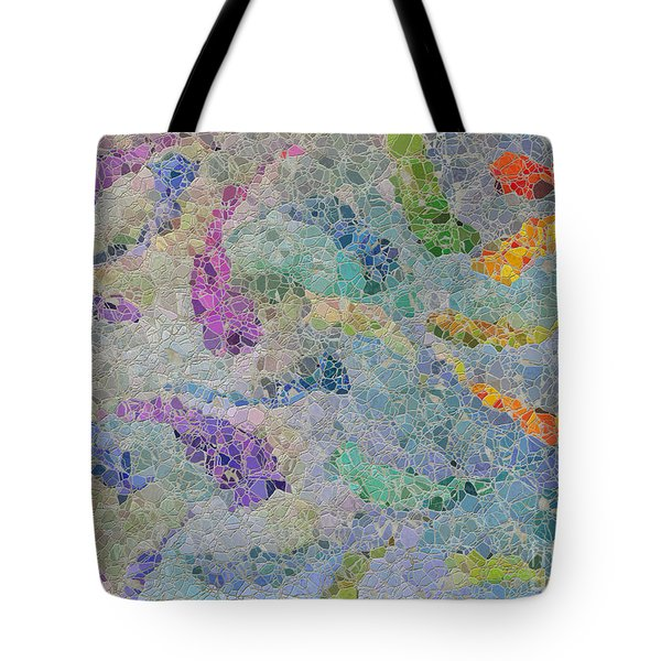 Rainbow Fish Mosaic Tile Abstract Tote Bag by Debbie Portwood