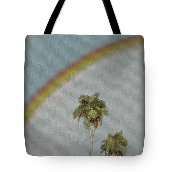 Tote Bag featuring the painting Rainbow by Jindra Noewi