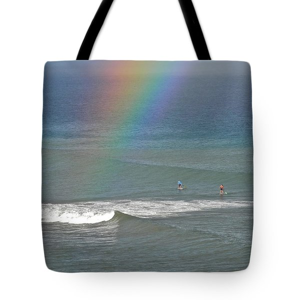 Tote Bag featuring the photograph Rainbow Mists And Surfing Too by Kirsten Giving
