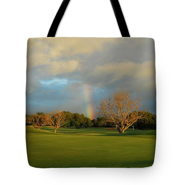 Tote Bag featuring the photograph Rainbow Over Princeville by Lynn Bauer