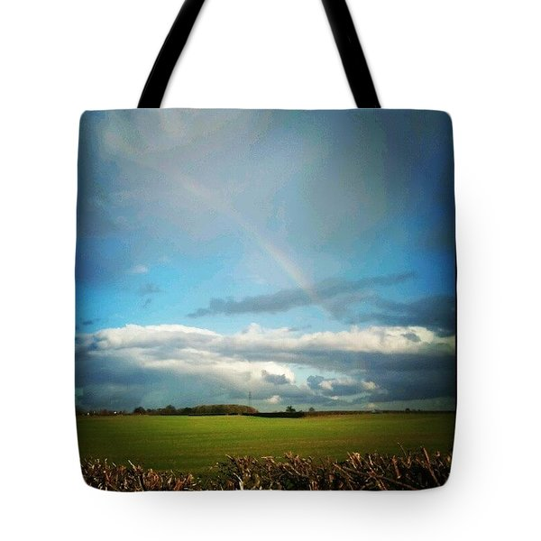 Rainbow Over The Field Tote Bag