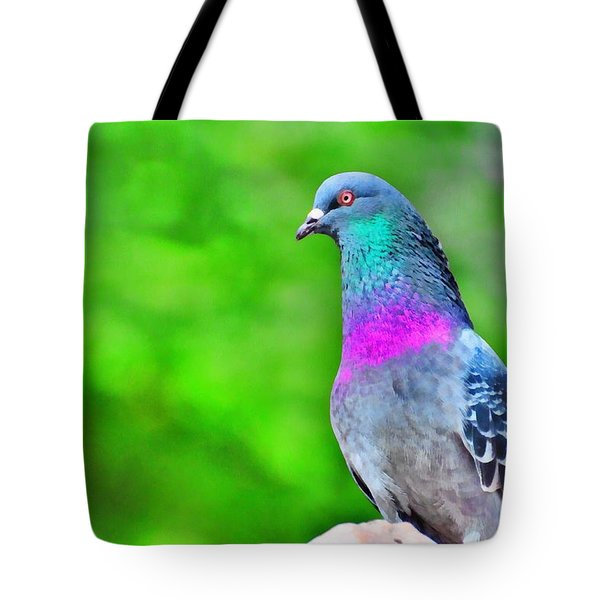 Rainbow Pigeon Tote Bag