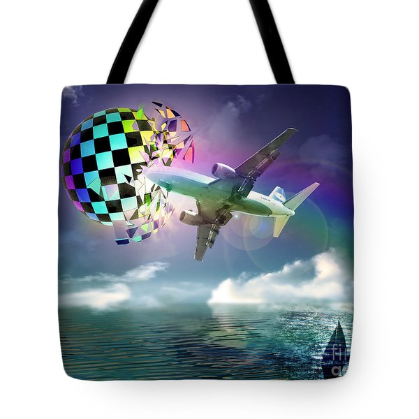 Tote Bag featuring the digital art Rainbow Set Free by Rosa Cobos