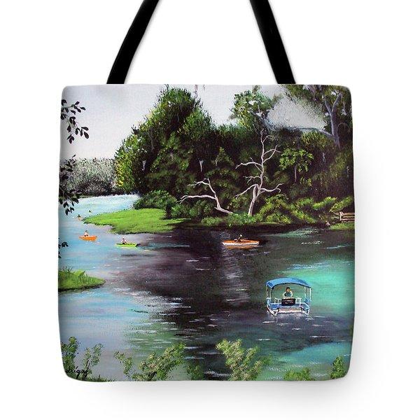 Rainbow Springs In Florida Tote Bag by Luis F Rodriguez