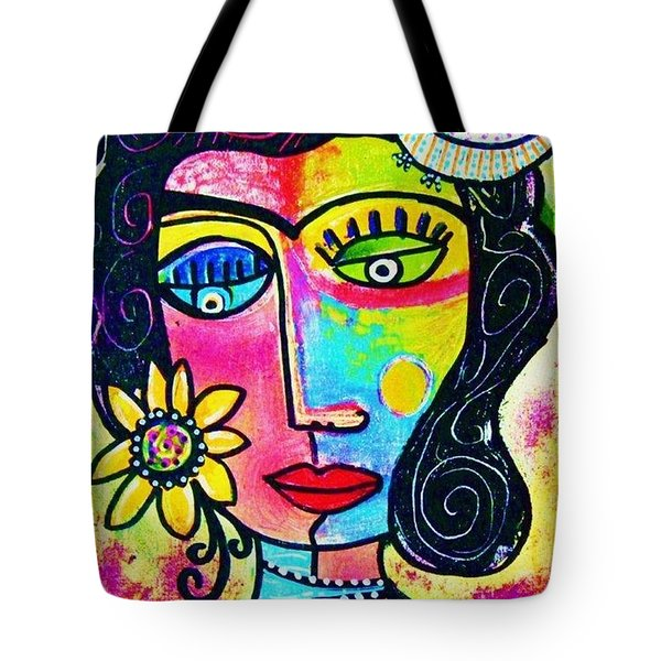Rainbow Sunshine Frida Tote Bag