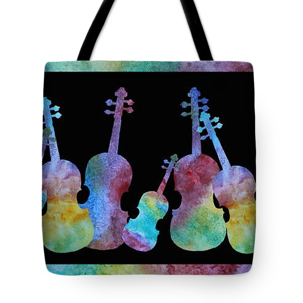 Rainbow Washed Violins Tote Bag