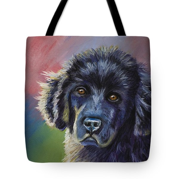Rainbows And Sunshine - Newfoundland Puppy Tote Bag