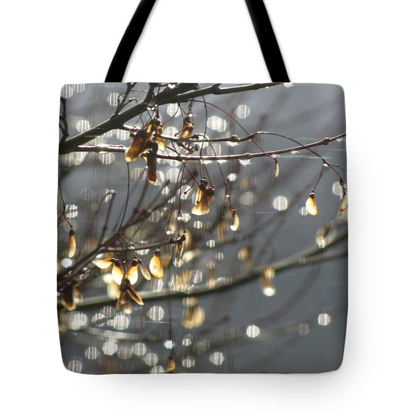 Raindrops And Leaves Tote Bag by Katie Wing Vigil