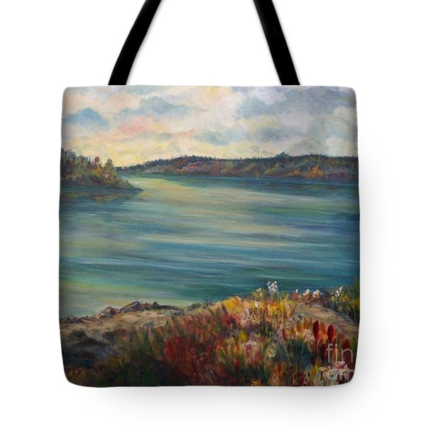 Rainy Lake Michigan Tote Bag by Julie Brugh Riffey