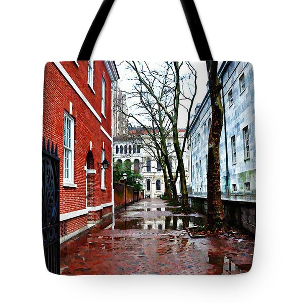 Rainy Philadelphia Alley Tote Bag by Bill Cannon