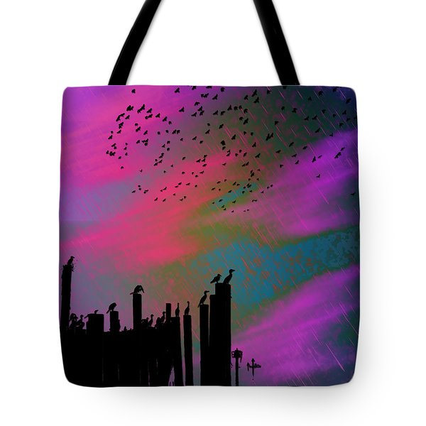 Tote Bag featuring the photograph Rainy Rainy Night by Barbara Middleton