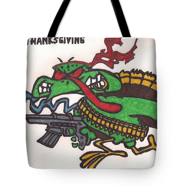 Tote Bag featuring the drawing Rambo Turkey by Jeremiah Colley