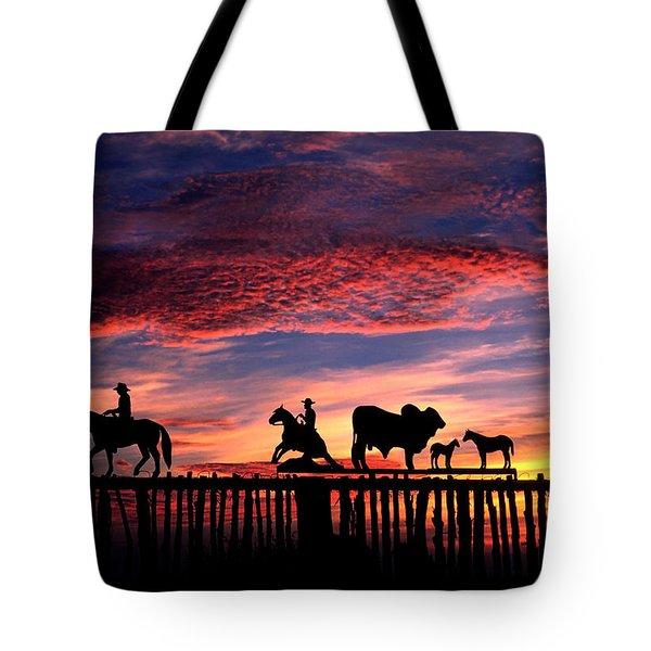 Texas Ranch Gate At Sunrise Tote Bag