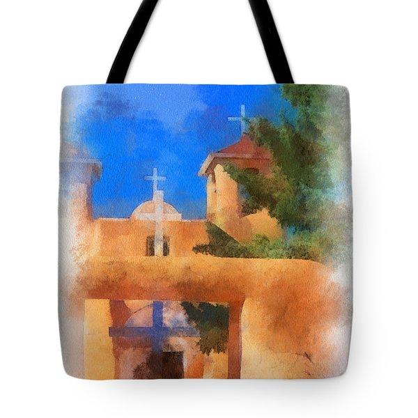 Ranchos Church Gate - Aquarell Tote Bag by Charles Muhle