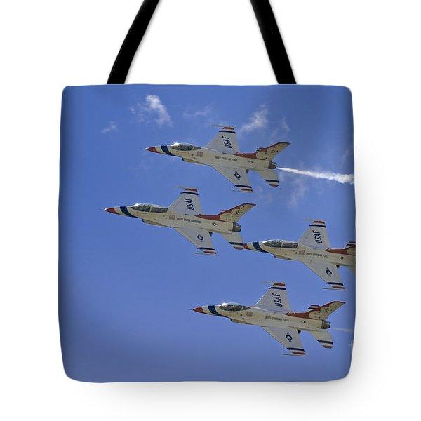 Rare Usaf Thunderbirds Diamond Pass Tote Bag by Tim Mulina
