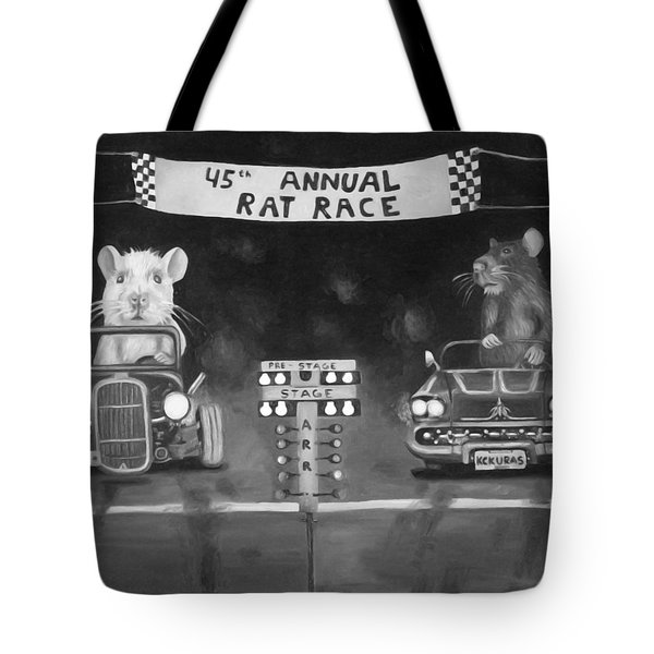 Rat Race In Black And White Tote Bag by Leah Saulnier The Painting Maniac
