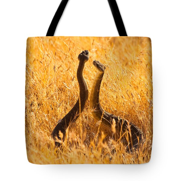 Rattlesnake Face Off Tote Bag