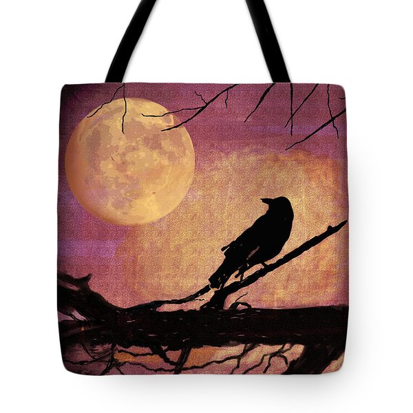 Raven And The October Moon Tote Bag by Arline Wagner