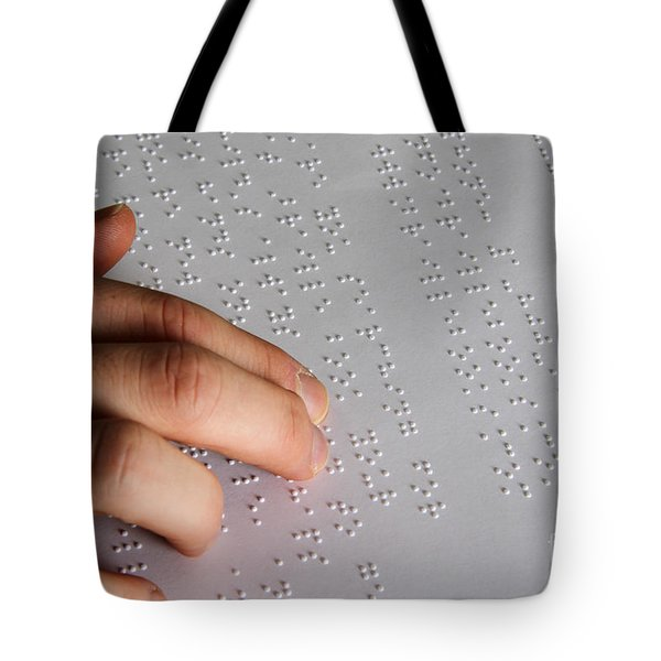 Reading Braille Tote Bag by Photo Researchers, Inc.
