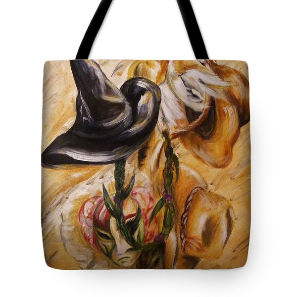Tote Bag featuring the painting Real Women Wear Many Hats by Karen  Ferrand Carroll