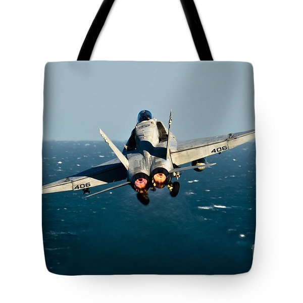 Rear View Of An Fa-18c Hornet Taking Tote Bag by Stocktrek Images
