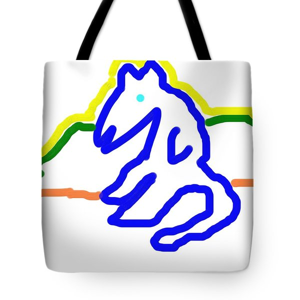 Tote Bag featuring the painting Reclining Cat In Blue by George Pedro