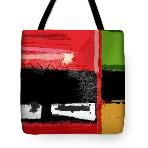 Red And Green Square Tote Bag by Naxart Studio