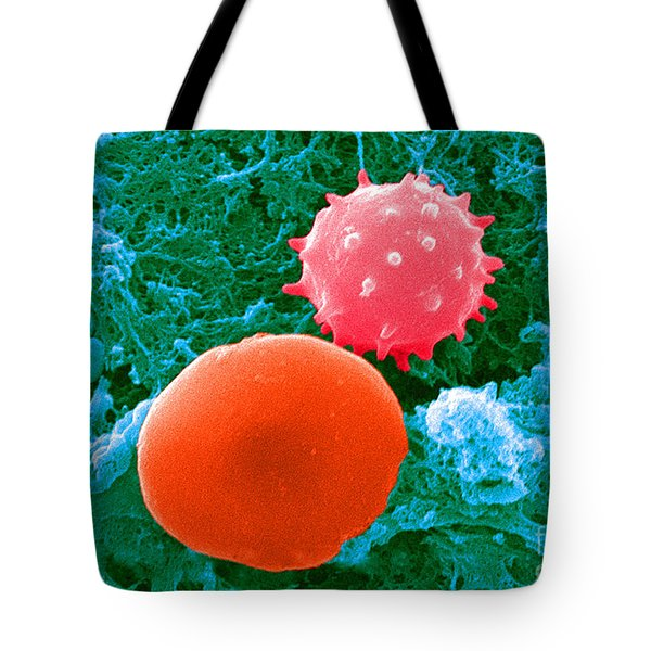 Red And White Blood Cells, Sem Tote Bag by Science Source