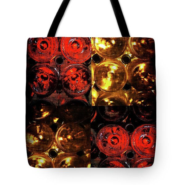 Red And White Wine Collage Tote Bag by Joan  Minchak