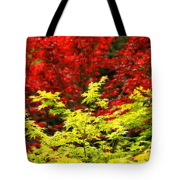 Red And Yellow Leaves Tote Bag by James Eddy