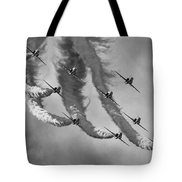 Red Arrows Black And White Tote Bag