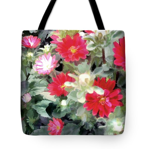 Red Asters Tote Bag by Elaine Plesser