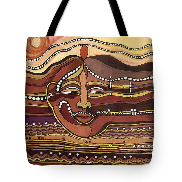 Red Aztec Face In Nature Landscape Abstract Fantasy With Earth Colors Sunset And Skyline Tote Bag by Rachel Hershkovitz