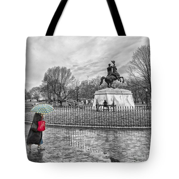 Tote Bag featuring the photograph Red Bag Lafayette Park by Jim Moore