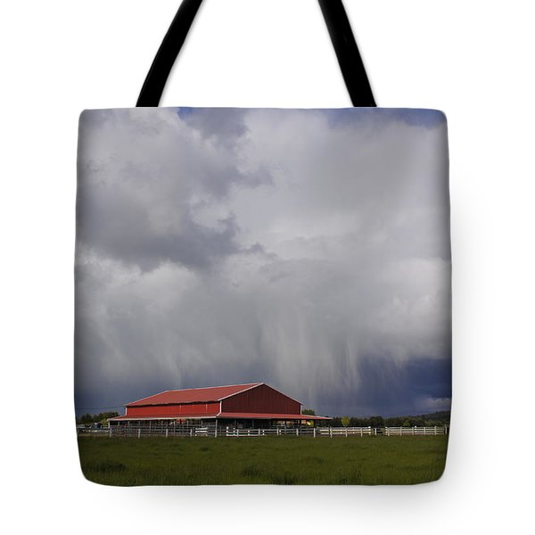 Red Barn And Stormy Sky Tote Bag by Mick Anderson