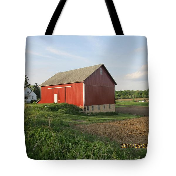Tote Bag featuring the photograph Red Barn Four by Tina M Wenger