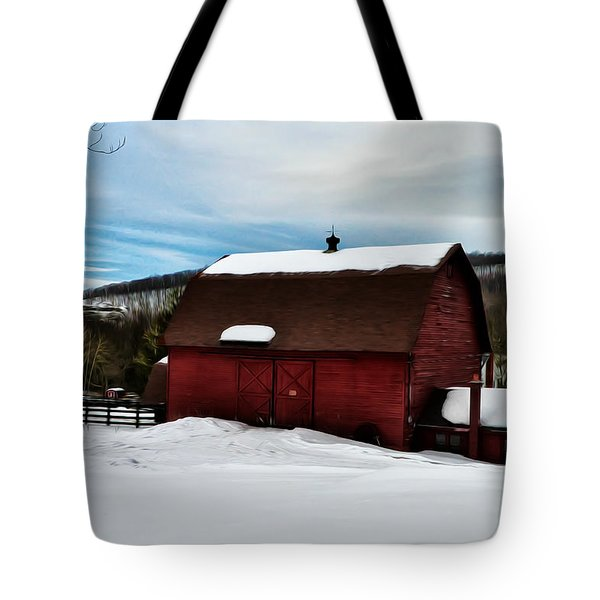 Red Barn In The Snow Tote Bag by Bill Cannon