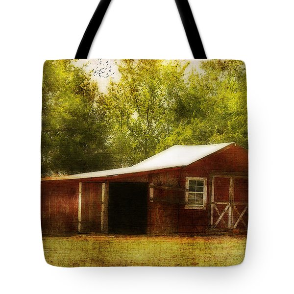 Tote Bag featuring the photograph Red Barn by Joan Bertucci