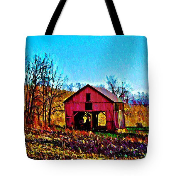 Red Barn On A Hillside Tote Bag by Bill Cannon