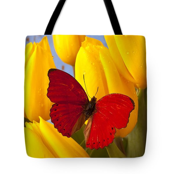 Red Butterful On Yellow Tulips Tote Bag by Garry Gay