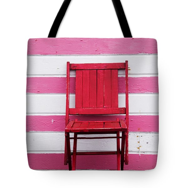 Red Chair And Pink Strips Tote Bag by Garry Gay