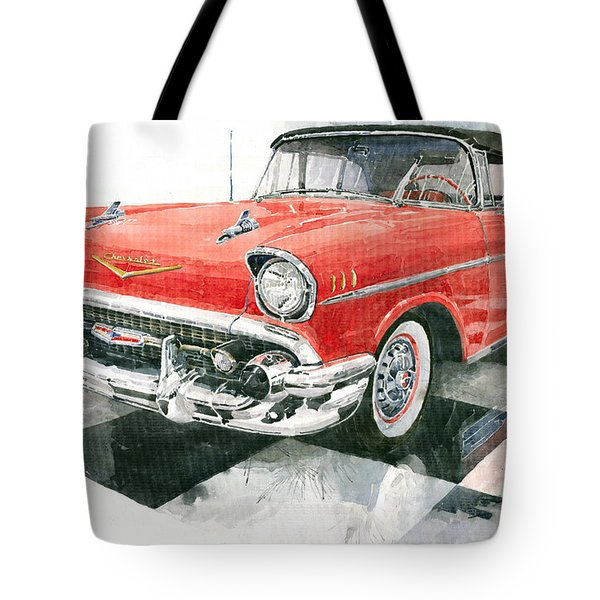 Red Chevrolet 1957 Tote Bag