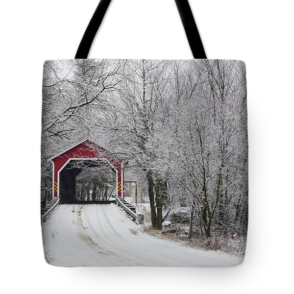 Red Covered Bridge In The Winter Tote Bag by David Chapman