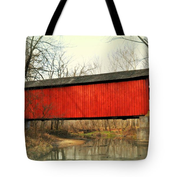 Red Covered Bridge Tote Bag by Marty Koch