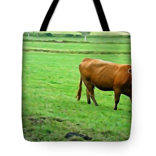 Tote Bag featuring the photograph Red Cow by Charlie and Norma Brock