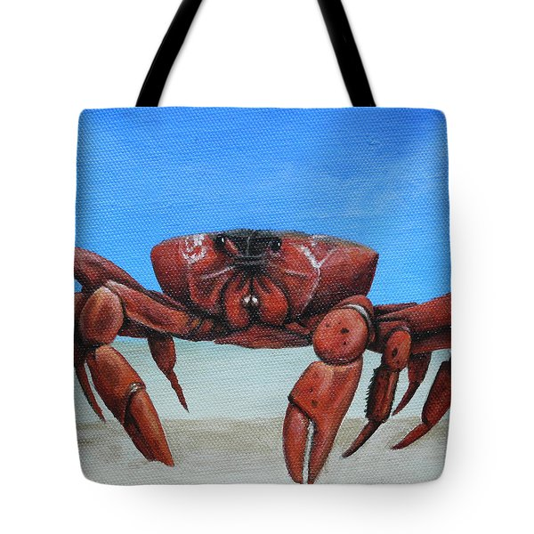 Red Crab Tote Bag by Cindy D Chinn
