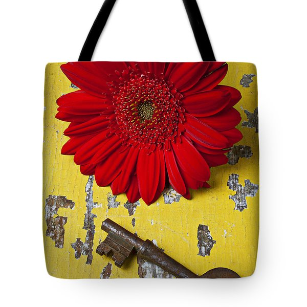 Red Daisy And Old Key Tote Bag by Garry Gay