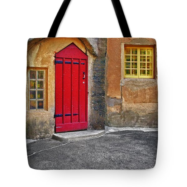 Red Door And Yellow Windows Tote Bag by Susan Candelario