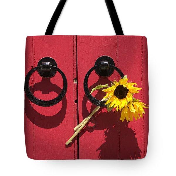 Red Door Sunflowers Tote Bag by Garry Gay
