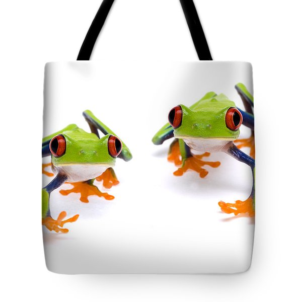 Red-eyed Treefrogs Walking Tote Bag by Mark Bowler and Photo Researchers